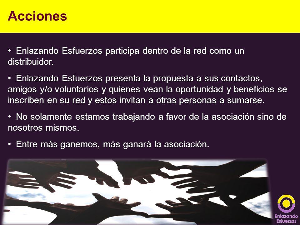 Enlazando Esfuerzos participa dentro de la red como un distribuidor. Enlazando Esfuerzos presenta la propuesta a sus contactos, amigos y/o voluntarios