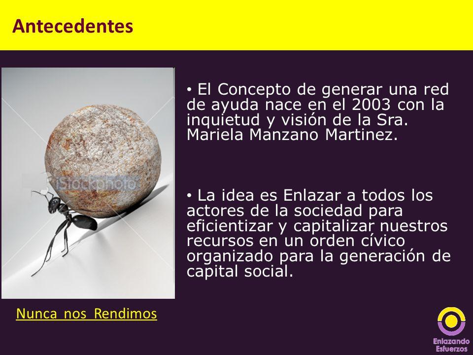Antecedentes El Concepto de generar una red de ayuda nace en el 2003 con la inquietud y visión de la Sra. Mariela Manzano Martinez. La idea es Enlazar