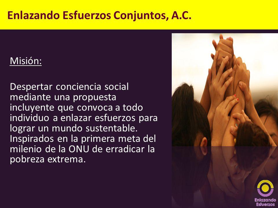 Enlazando Esfuerzos Conjuntos, A.C. Misión: Despertar conciencia social mediante una propuesta incluyente que convoca a todo individuo a enlazar esfue
