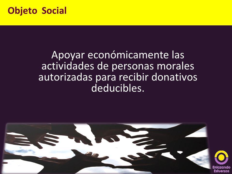Apoyar económicamente las actividades de personas morales autorizadas para recibir donativos deducibles. Objeto Social
