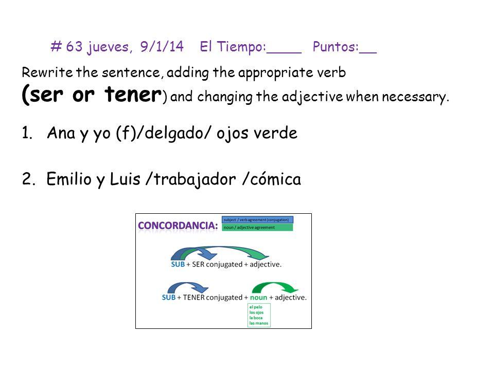 # 64 viernes, 10/1/14 El Tiempo:____ Puntos:__ Describe la persona en cada foto usando oraciones completas.