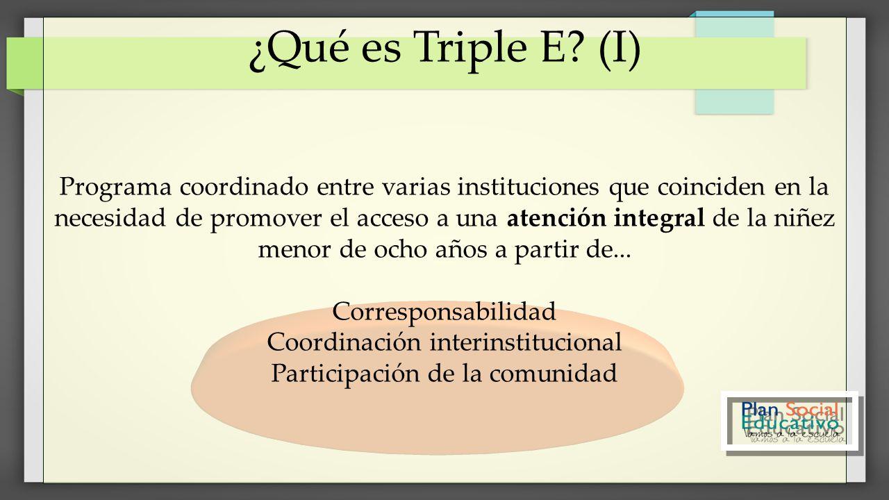 ¿Qué es Triple E? (I) Programa coordinado entre varias instituciones que coinciden en la necesidad de promover el acceso a una atención integral de la