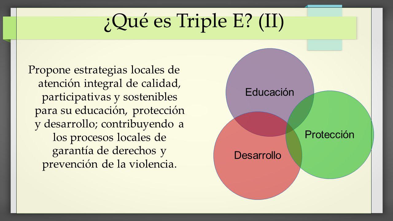 ¿Qué es Triple E? (II) Propone estrategias locales de atención integral de calidad, participativas y sostenibles para su educación, protección y desar