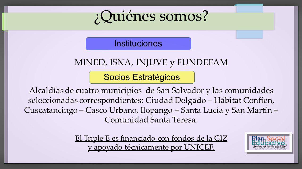 ¿Quiénes somos? MINED, ISNA, INJUVE y FUNDEFAM Alcaldías de cuatro municipios de San Salvador y las comunidades seleccionadas correspondientes: Ciudad