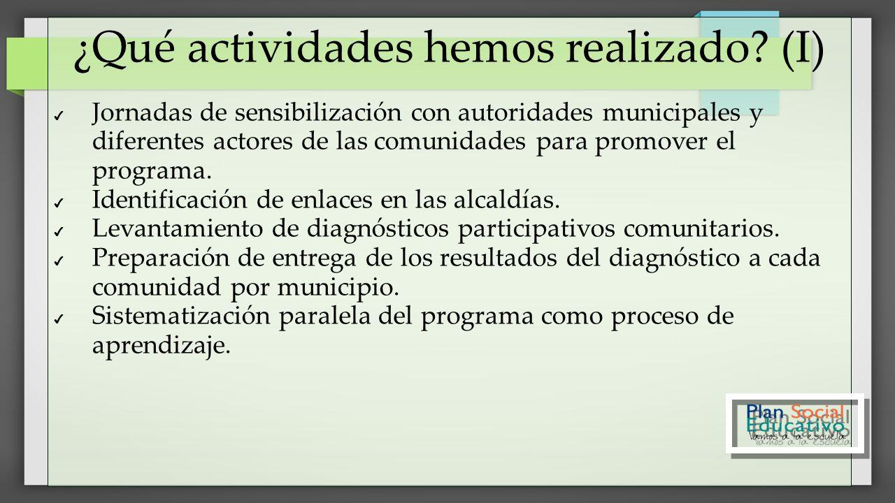 ¿Qué actividades hemos realizado? (I) Jornadas de sensibilización con autoridades municipales y diferentes actores de las comunidades para promover el