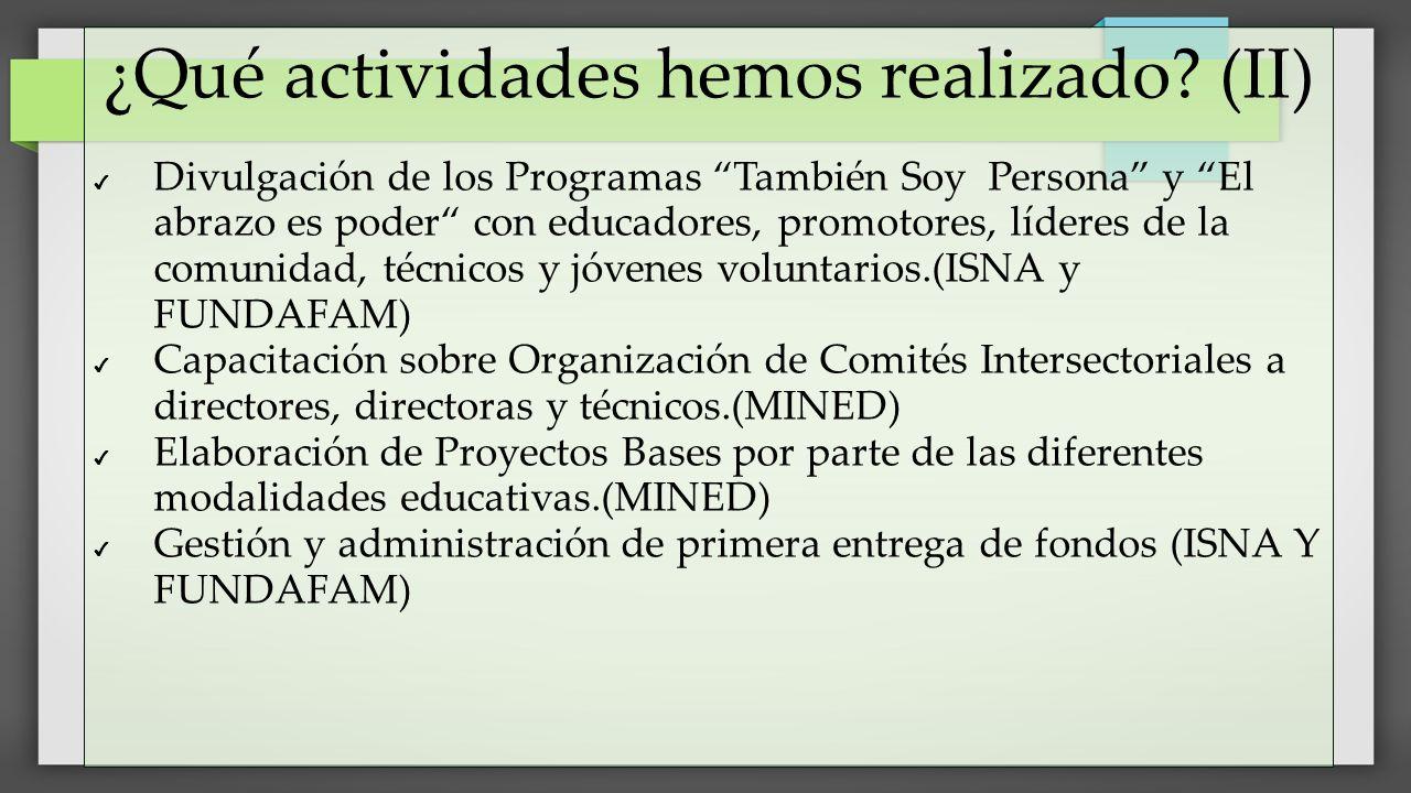 ¿Qué actividades hemos realizado? (II) Divulgación de los Programas También Soy Persona y El abrazo es poder con educadores, promotores, líderes de la