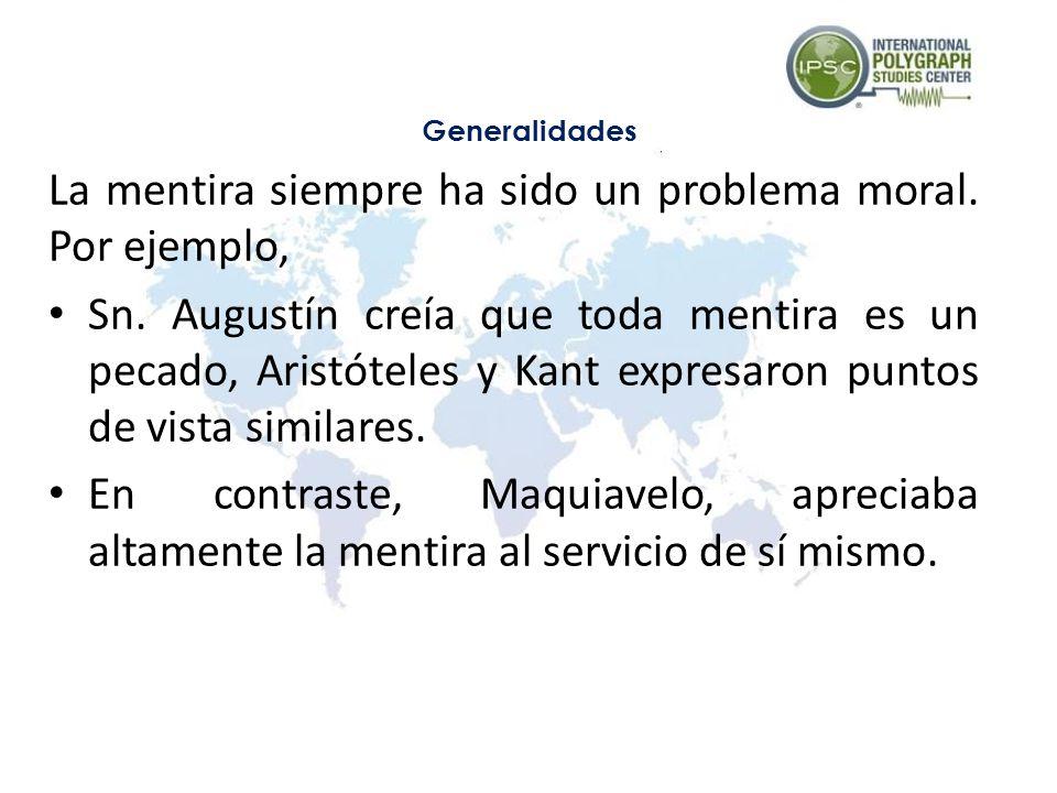 La mentira siempre ha sido un problema moral. Por ejemplo, Sn. Augustín creía que toda mentira es un pecado, Aristóteles y Kant expresaron puntos de v