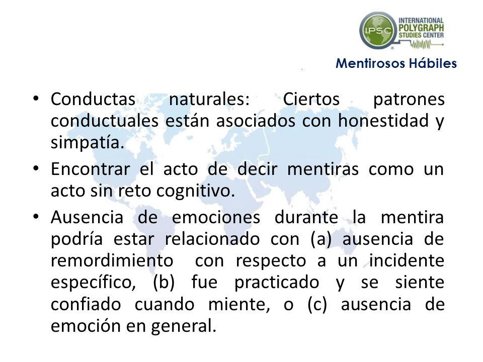 Conductas naturales: Ciertos patrones conductuales están asociados con honestidad y simpatía. Encontrar el acto de decir mentiras como un acto sin ret