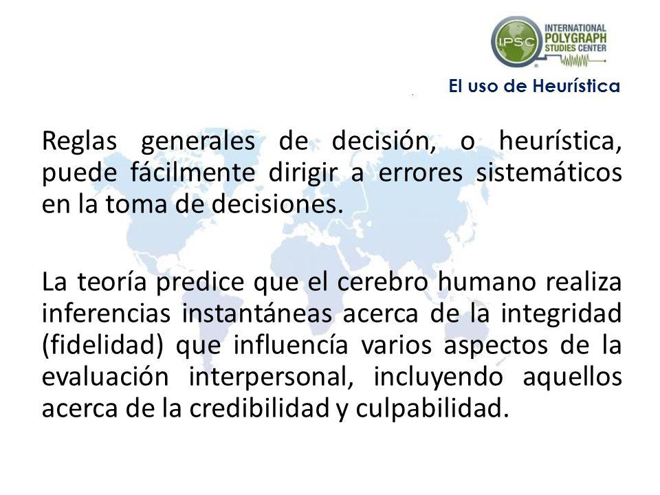 Reglas generales de decisión, o heurística, puede fácilmente dirigir a errores sistemáticos en la toma de decisiones.