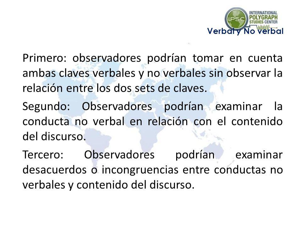 Primero: observadores podrían tomar en cuenta ambas claves verbales y no verbales sin observar la relación entre los dos sets de claves.