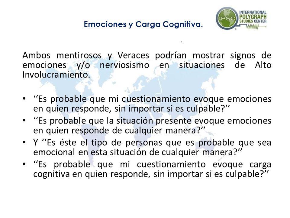 Ambos mentirosos y Veraces podrían mostrar signos de emociones y/o nerviosismo en situaciones de Alto Involucramiento. Es probable que mi cuestionamie