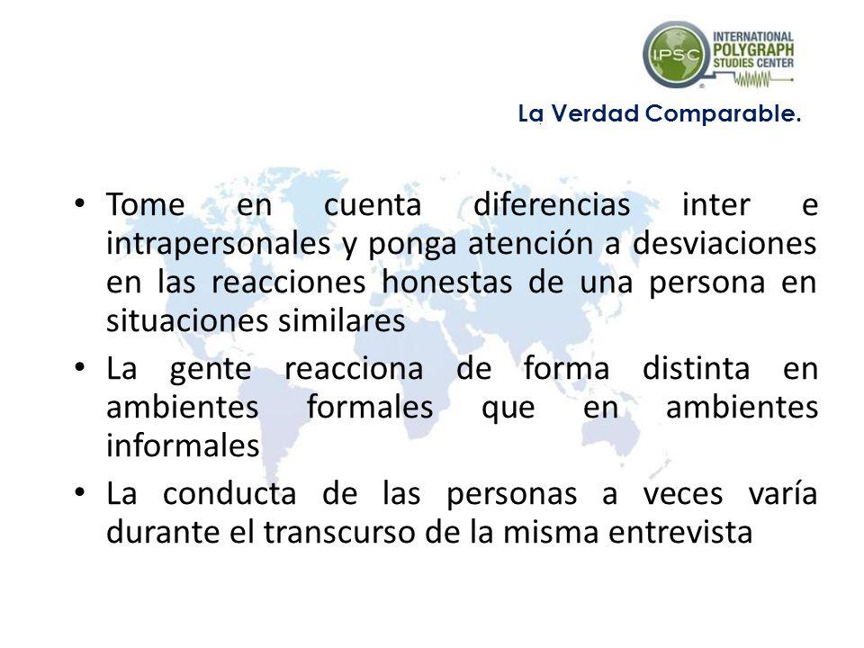 Tome en cuenta diferencias inter e intrapersonales y ponga atención a desviaciones en las reacciones honestas de una persona en situaciones similares