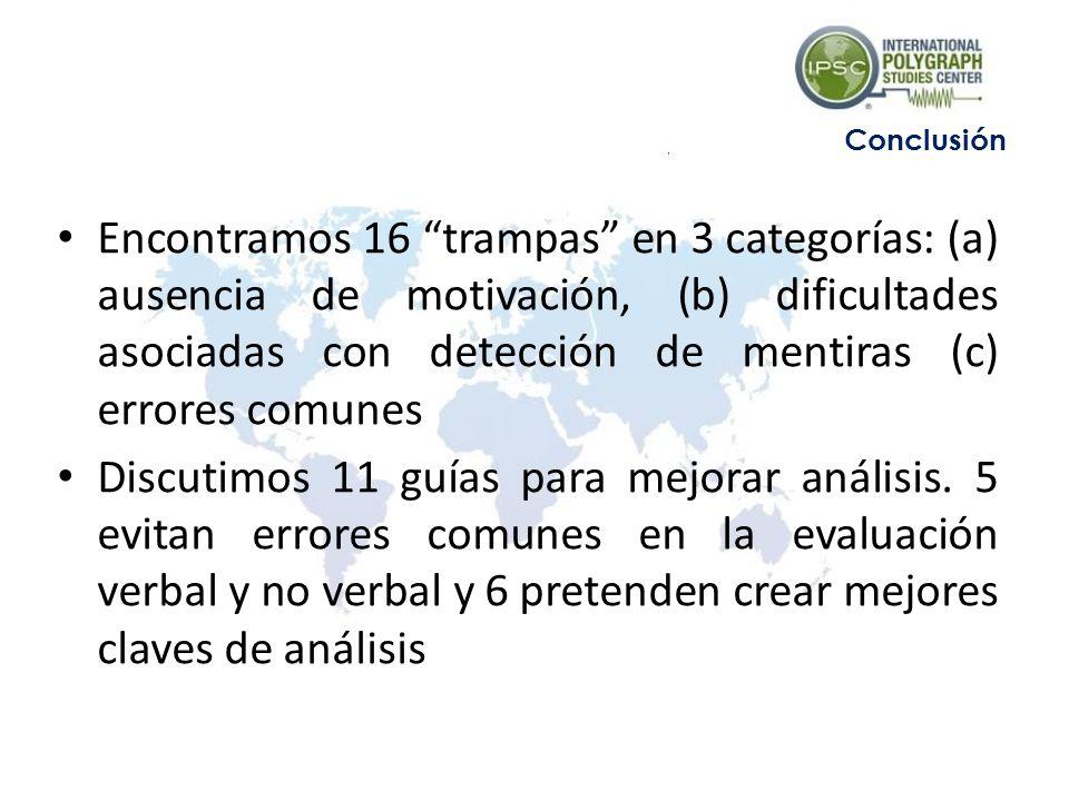 Encontramos 16 trampas en 3 categorías: (a) ausencia de motivación, (b) dificultades asociadas con detección de mentiras (c) errores comunes Discutimo