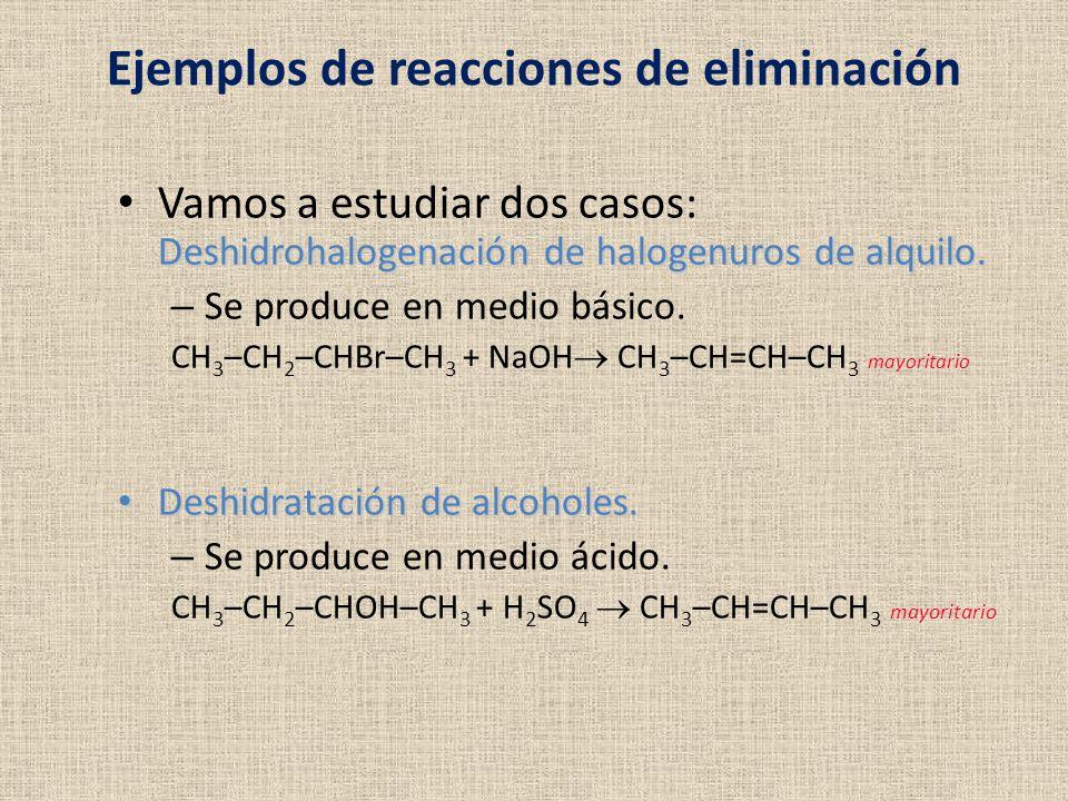 Ejemplos de reacciones de eliminación Deshidrohalogenación de halogenuros de alquilo. Vamos a estudiar dos casos: Deshidrohalogenación de halogenuros