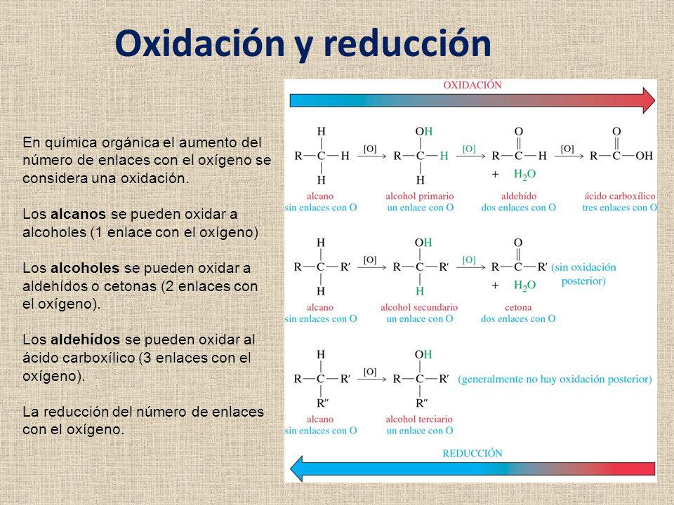 Oxidación y reducción En química orgánica el aumento del número de enlaces con el oxígeno se considera una oxidación. Los alcanos se pueden oxidar a a
