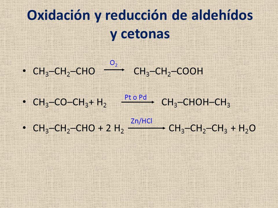 Oxidación y reducción de aldehídos y cetonas CH 3 –CH 2 –CHO CH 3 –CH 2 –COOH CH 3 –CO–CH 3 + H 2 CH 3 –CHOH–CH 3 CH 3 –CH 2 –CHO + 2 H 2 CH 3 –CH 2 –