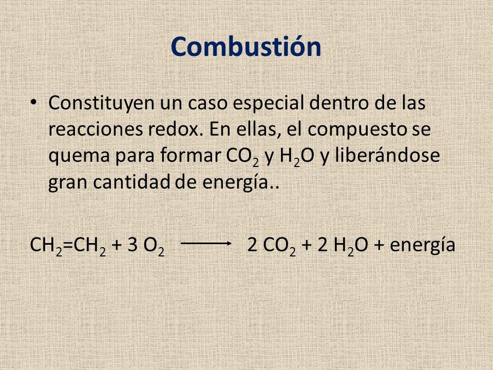 Combustión Constituyen un caso especial dentro de las reacciones redox. En ellas, el compuesto se quema para formar CO 2 y H 2 O y liberándose gran ca