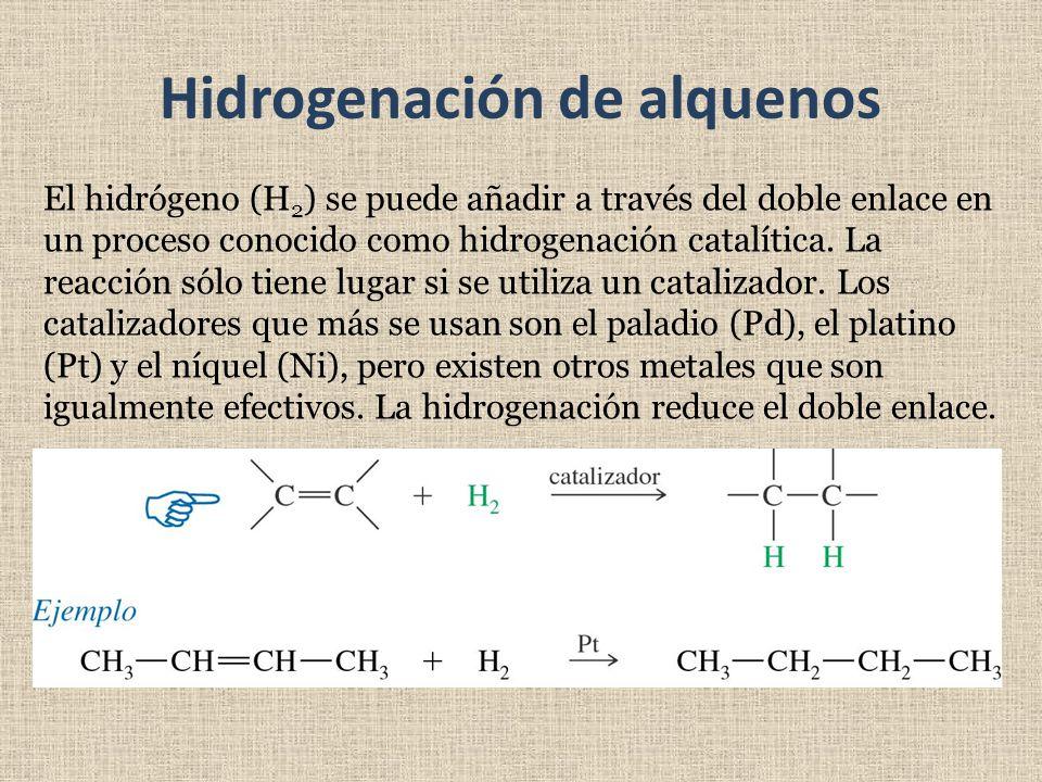 Hidrogenación de alquenos El hidrógeno (H 2 ) se puede añadir a través del doble enlace en un proceso conocido como hidrogenación catalítica. La reacc