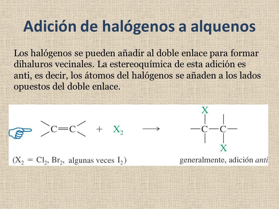 Adición de halógenos a alquenos Los halógenos se pueden añadir al doble enlace para formar dihaluros vecinales. La estereoquímica de esta adición es a