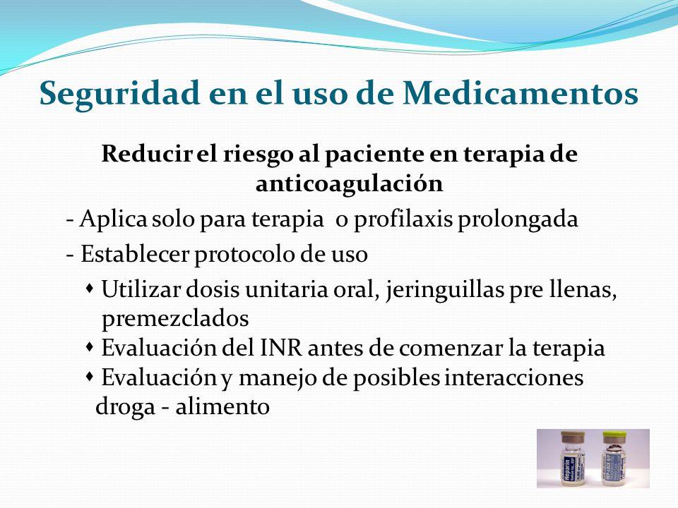 Seguridad en el uso de Medicamentos Reducir el riesgo al paciente en terapia de anticoagulación - Aplica solo para terapia o profilaxis prolongada - E