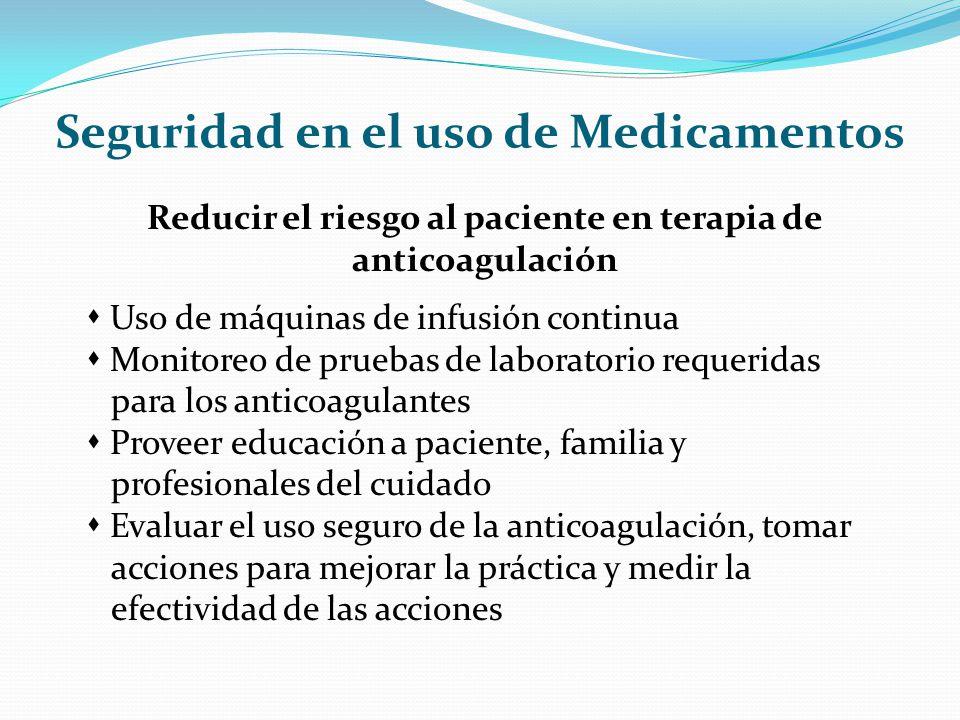 Seguridad en el uso de Medicamentos Reducir el riesgo al paciente en terapia de anticoagulación Uso de máquinas de infusión continua Monitoreo de prue