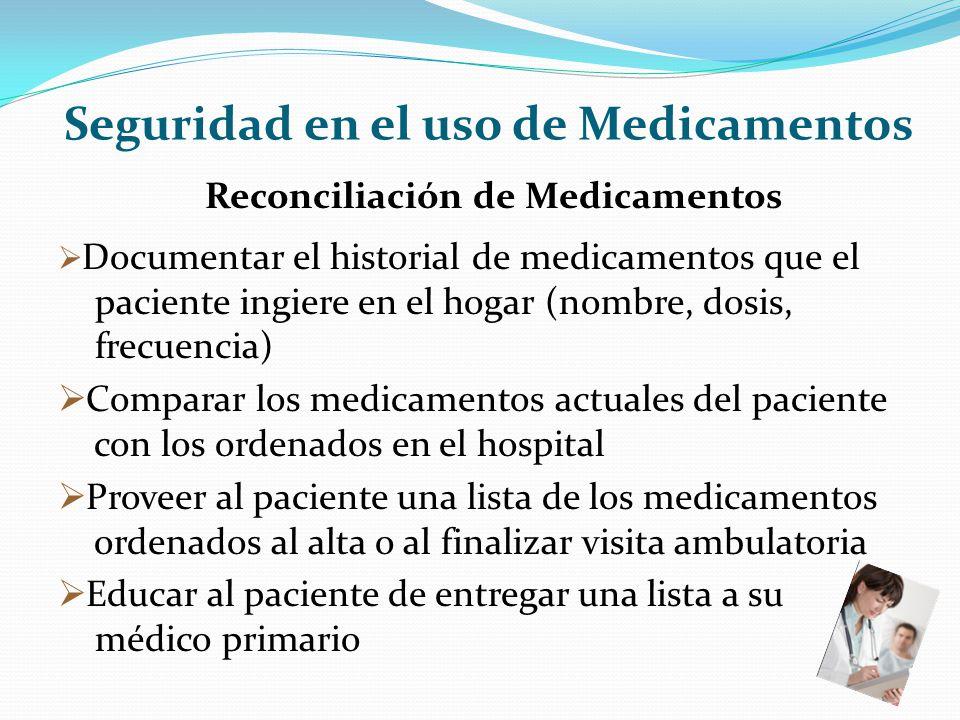Seguridad en el uso de Medicamentos Reconciliación de Medicamentos Documentar el historial de medicamentos que el paciente ingiere en el hogar (nombre