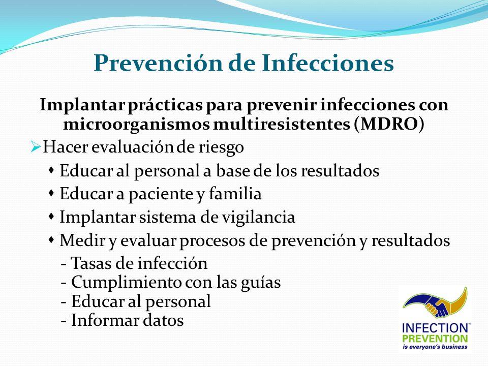 Prevención de Infecciones Implantar prácticas para prevenir infecciones con microorganismos multiresistentes (MDRO) Hacer evaluación de riesgo Educar