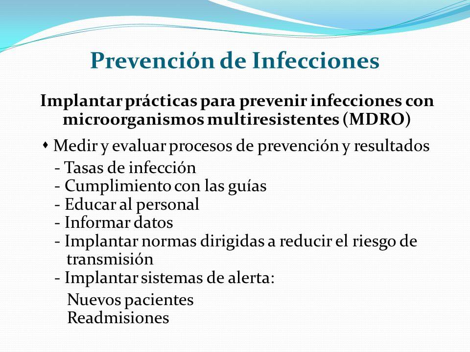 Prevención de Infecciones Implantar prácticas para prevenir infecciones con microorganismos multiresistentes (MDRO) Medir y evaluar procesos de preven