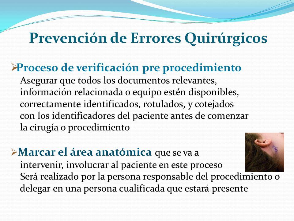 Prevención de Errores Quirúrgicos Proceso de verificación pre procedimiento Asegurar que todos los documentos relevantes, información relacionada o eq