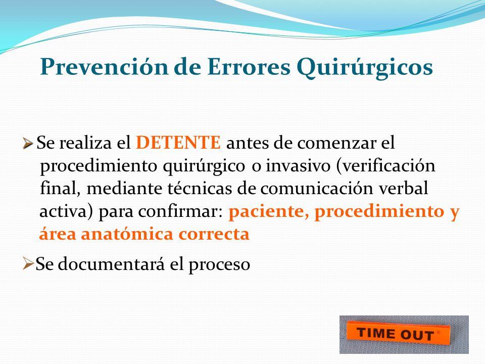 Prevención de Errores Quirúrgicos Se realiza el DETENTE antes de comenzar el procedimiento quirúrgico o invasivo (verificación final, mediante técnica