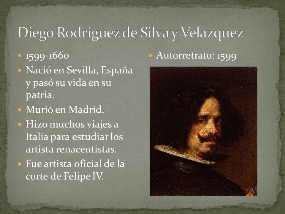 1599-1660 Nació en Sevilla, España y pasó su vida en su patria. Murió en Madrid. Hizo muchos viajes a Italia para estudiar los artista renacentistas.