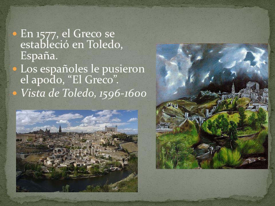 En 1577, el Greco se estableció en Toledo, España. Los españoles le pusieron el apodo, El Greco. Vista de Toledo, 1596-1600