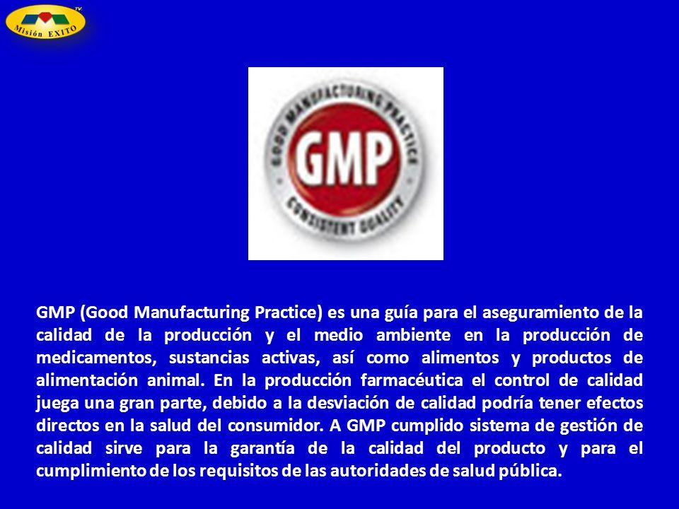 GMP (Good Manufacturing Practice) es una guía para el aseguramiento de la calidad de la producción y el medio ambiente en la producción de medicamento