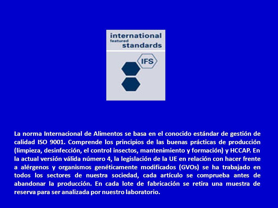 La norma Internacional de Alimentos se basa en el conocido estándar de gestión de calidad ISO 9001. Comprende los principios de las buenas prácticas d