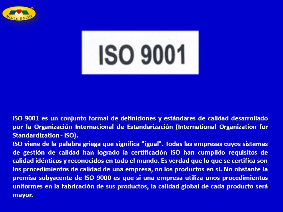 ISO 9001 es un conjunto formal de definiciones y estándares de calidad desarrollado por la Organización Internacional de Estandarización (Internationa