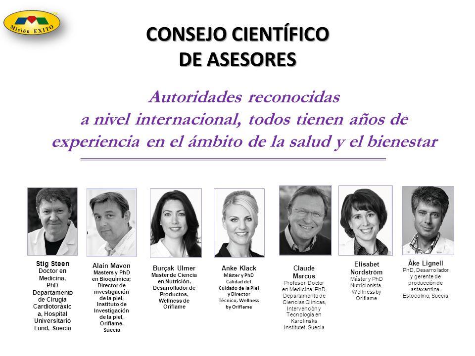 CONSEJO CIENTÍFICO DE ASESORES Autoridades reconocidas a nivel internacional, todos tienen años de experiencia en el ámbito de la salud y el bienestar