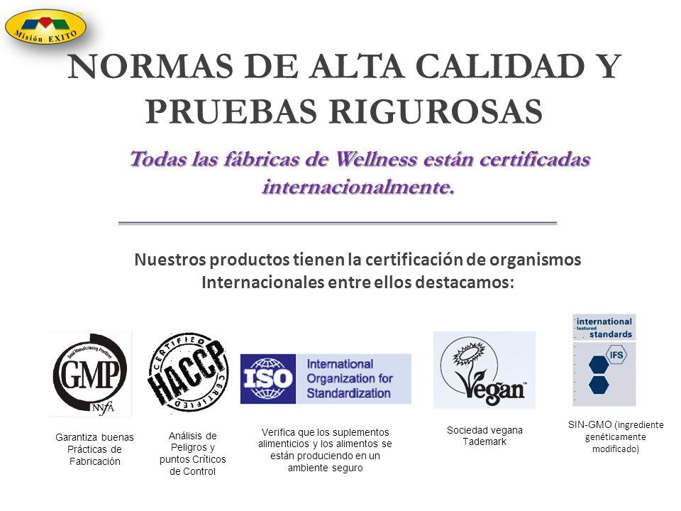 Nuestros productos tienen la certificación de organismos Internacionales entre ellos destacamos: Todas las fábricas de Wellness están certificadas int