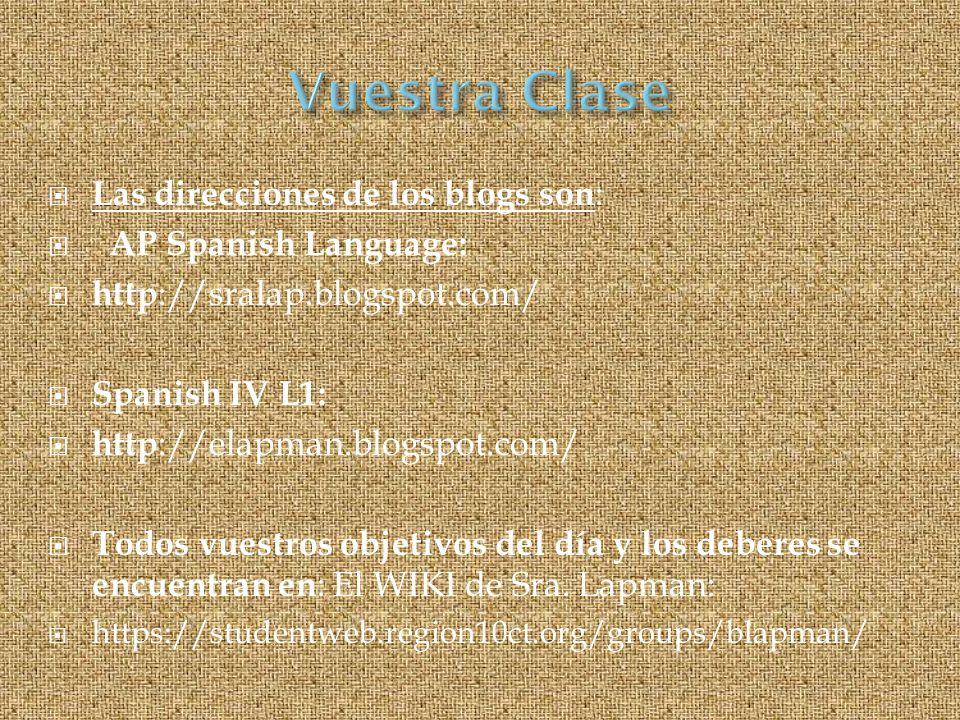 Las direcciones de los blogs son : AP Spanish Language: http ://sralap.blogspot.com/ Spanish IV L1: http ://elapman.blogspot.com/ Todos vuestros objetivos del día y los deberes se encuentran en : El WIKI de Sra.