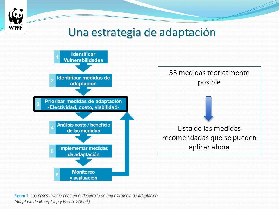 53 medidas teóricamente posible Lista de las medidas recomendadas que se pueden aplicar ahora Una estrategia de Una estrategia de adaptación