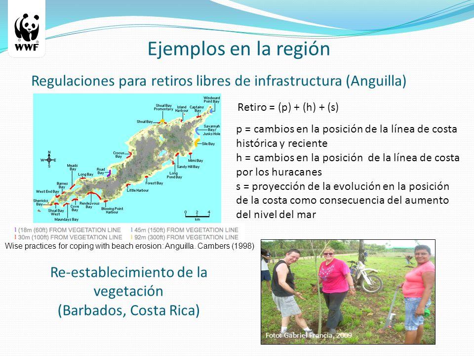 Re-establecimiento de la vegetación (Barbados, Costa Rica) Regulaciones para retiros libres de infrastructura (Anguilla) Ejemplos en la región Retiro = (p) + (h) + (s) p = cambios en la posición de la línea de costa histórica y reciente h = cambios en la posición de la línea de costa por los huracanes s = proyección de la evolución en la posición de la costa como consecuencia del aumento del nivel del mar Foto: Gabriel Francia, 2009 Wise practices for coping with beach erosion: Anguilla.