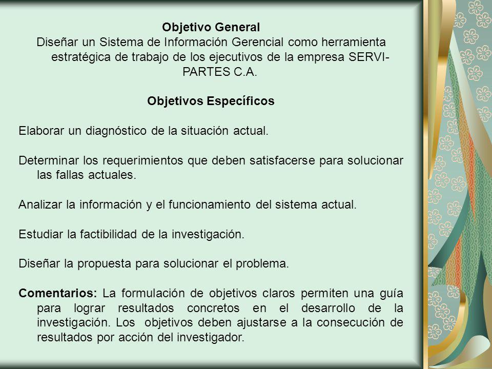 Objetivo General Diseñar un Sistema de Información Gerencial como herramienta estratégica de trabajo de los ejecutivos de la empresa SERVI- PARTES C.A.