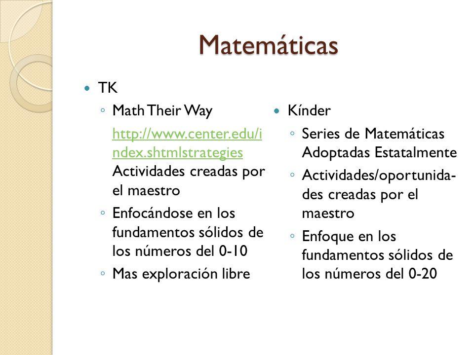 Matemáticas TK Math Their Way http://www.center.edu/i ndex.shtmlstrategies http://www.center.edu/i ndex.shtmlstrategies Actividades creadas por el maestro Enfocándose en los fundamentos sólidos de los números del 0-10 Mas exploración libre Kínder Series de Matemáticas Adoptadas Estatalmente Actividades/oportunida- des creadas por el maestro Enfoque en los fundamentos sólidos de los números del 0-20