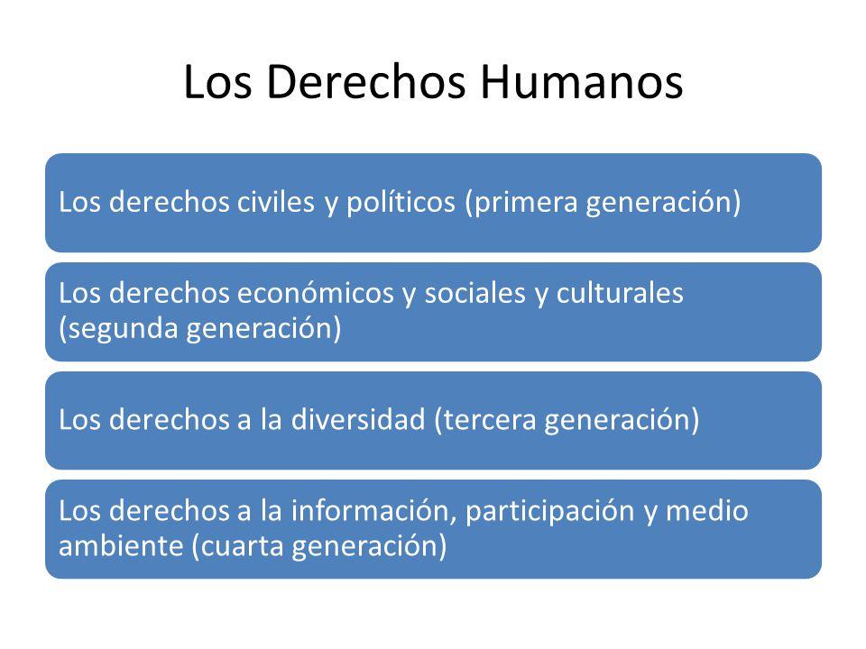 Los Derechos Humanos Los derechos civiles y políticos (primera generación) Los derechos económicos y sociales y culturales (segunda generación) Los de