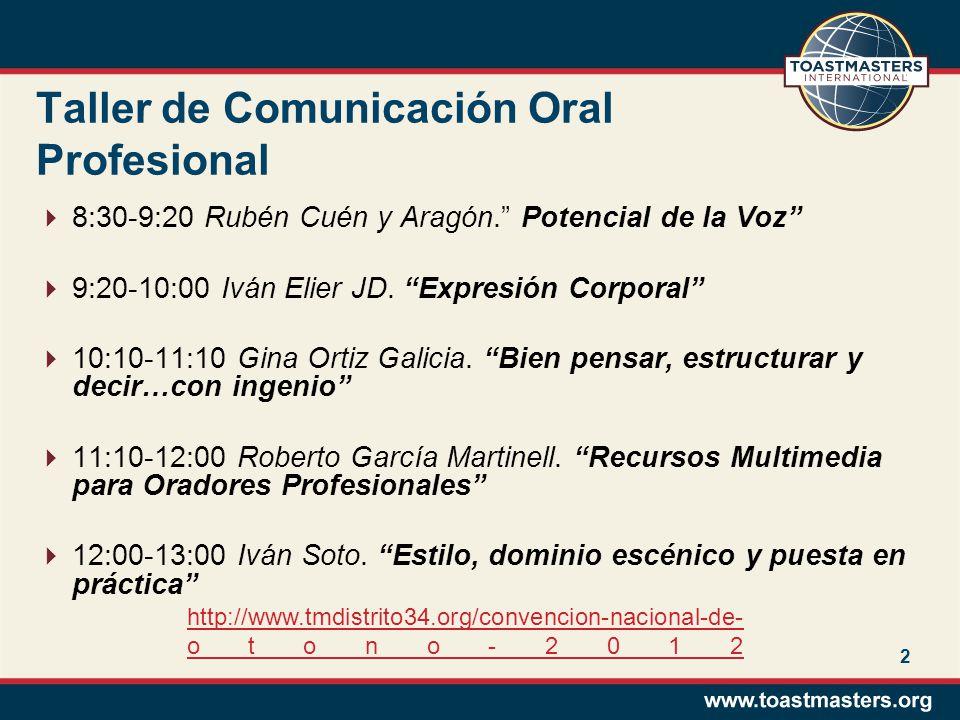 Taller de Comunicación Oral Profesional 8:30-9:20 Rubén Cuén y Aragón. Potencial de la Voz 9:20-10:00 Iván Elier JD. Expresión Corporal 10:10-11:10 Gi
