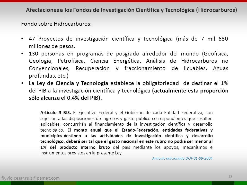 fluvio.cesar.ruiz@pemex.com 18 Afectaciones a los Fondos de Investigación Científica y Tecnológica (Hidrocarburos) Fondo sobre Hidrocarburos: 47 Proye