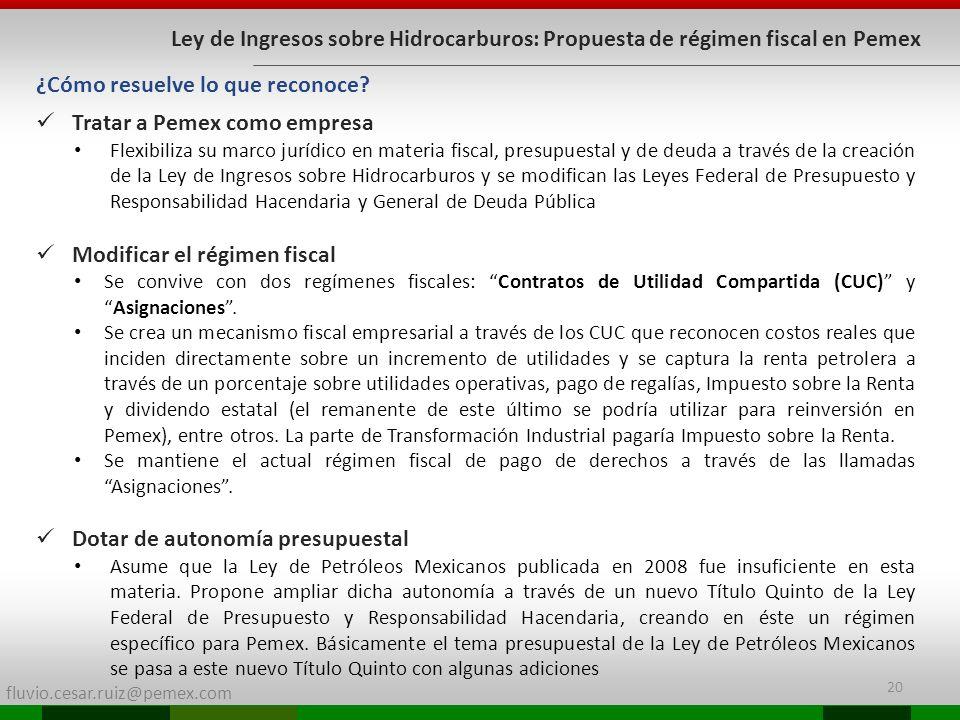 fluvio.cesar.ruiz@pemex.com Ley de Ingresos sobre Hidrocarburos: Propuesta de régimen fiscal en Pemex Tratar a Pemex como empresa Flexibiliza su marco