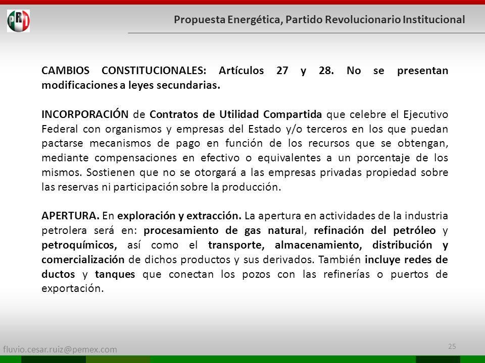 fluvio.cesar.ruiz@pemex.com 25 Propuesta Energética, Partido Revolucionario Institucional CAMBIOS CONSTITUCIONALES: Artículos 27 y 28. No se presentan