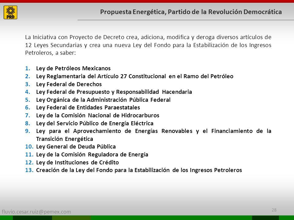 fluvio.cesar.ruiz@pemex.com 28 Propuesta Energética, Partido de la Revolución Democrática La Iniciativa con Proyecto de Decreto crea, adiciona, modifi
