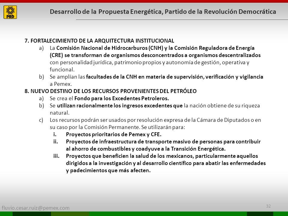 fluvio.cesar.ruiz@pemex.com 32 Desarrollo de la Propuesta Energética, Partido de la Revolución Democrática 7. FORTALECIMIENTO DE LA ARQUITECTURA INSTI