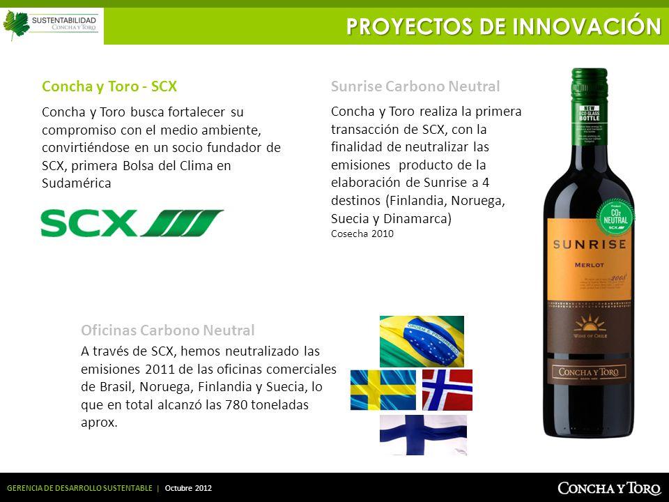 GERENCIA DE DESARROLLO SUSTENTABLE | Octubre 2012 Concha y Toro busca fortalecer su compromiso con el medio ambiente, convirtiéndose en un socio funda